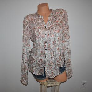 Prana Floral Button Shirt Top Medium
